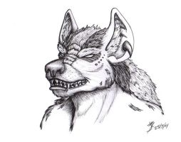 Plains Gnoll - Portrait (Hyena) by catnmaus