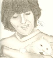 George Harrison and a Cat by AquaMiribalis