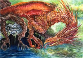 Golden Dragon at the Pond by AugustAnna