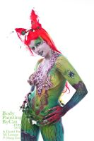 Poison Ivy Bodypaint with Daniel torso plant shot by Bodypaintingbycatdot