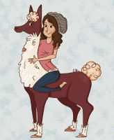 A Girl and Her Llama by CuteTreats