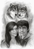 Wolfes and portraits -- commission by Thubakabra