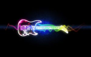 Black Neon Electric Guitar by mrdoopey