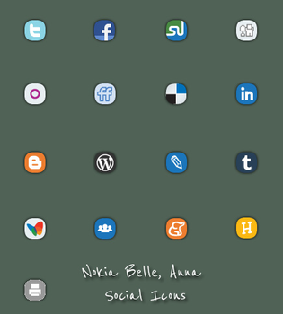 Nokia Belle Anna Social Icons by Rahul964