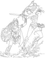 Wonder Woman vs She-Ra WIP by FeiLongEX