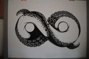Infinity Tentacle (ink and paper version) by AndrewStrauss