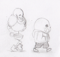 Sans and Papyrus Walk by Anko6