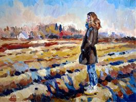 Female Figure and Fields by Art-deWhill