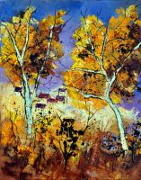 Two trees in autumn by pledent