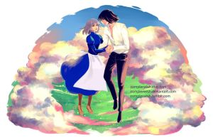 Howl and Sophie above the clouds by ComplexWish