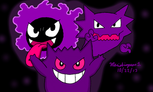 Gastly Haunter and Gengar by MarioSimpson1