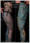 two monocromatic leg sleeve tattoos by danktat