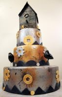 SteamPUNK birdhouse cake by ohnoono