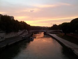 River Tiber at dusk, Rome by rbompro1