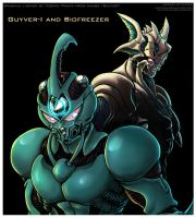 LINEART Guyver I and Biofreezer Hayami -coloring by Lucithea