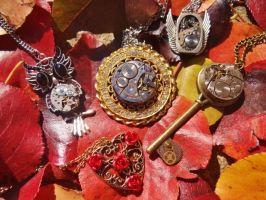 Steampunk autumn necklaces by Hiddendemon-666