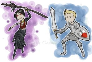 Morrigan and Alistair chibies by Adre-es