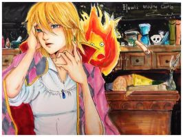 Howl's Moving Castle: Howl and Calcifer by littlemissmarikit