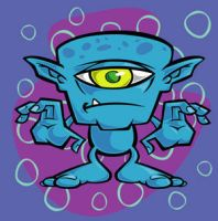 cartoon one eyed space monster by gcoghill