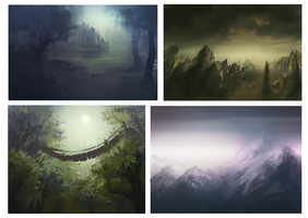 Landscape Speedpaints by Tokenin