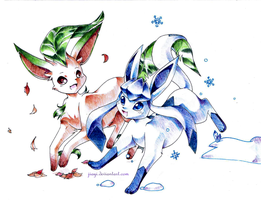 Commission: Leafeon et Glaceon by Jiayi