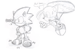 sonic and tails sketch by Nintendrawer