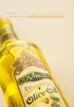 Olive Oil Label Design II by byZED