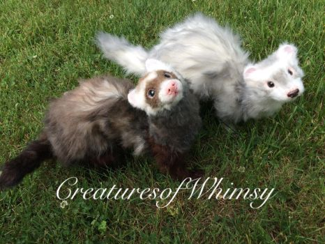 Ferret sisters! Poseable art doll commission. SOLD by creaturesofwhimsy