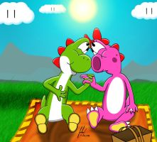 Yoshi and Birdo camping by Juliannb4
