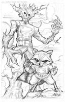 Rocket 'N Groot Commish by CdubbArt