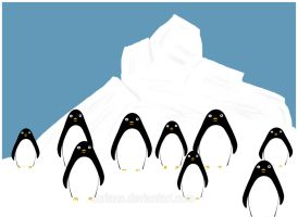 Penguin Stare Down Army by surlana