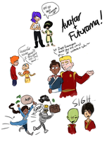 Avatar-Futurama doodles by schellibie