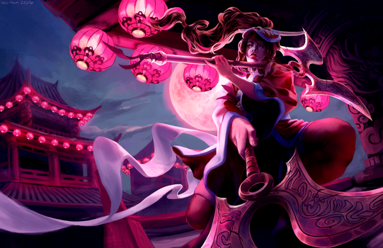 LoL: Akali Blood Moon Skin Repaint by rou-tan