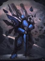 Blue Sentry by Juhupainting