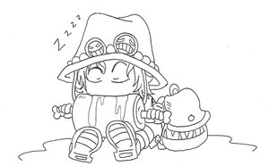 Ace eating while sleeping by Megalow