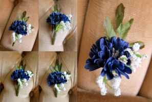 Small Blue and White Boutonniere by ValkyrieOfODIN