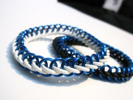 Blue Chainmaille Bracelets by Melon-love
