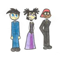 Danny, Sam and Tucker in duds by Lily-Starlight