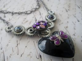 Black Heart Steampunk Necklace by RoyalKitness