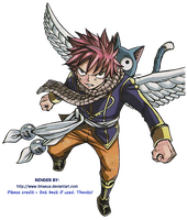Render- Fairy Tail - Natsu and Happy by Timaeus