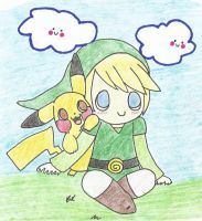 Link and Pikachu Art Trade by BrannaPants