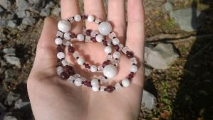 Moonstone and Garnet necklace FOR SALE by impish-midna