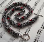 Silver and red byzantine chainmaille necklace by TerraNovaJewels