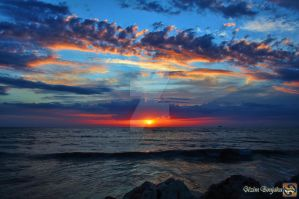 Diagonal clouds and Sunset by Muhammed-Jetimi