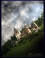 Castle in dark clouds by Lord-Nosferatu