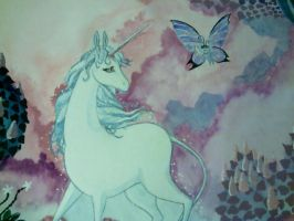 Unicorn and butterfly close up by Feilan