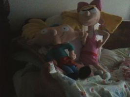 Arnold and Helga Plushies! ^_^ by starwriterforthewinn