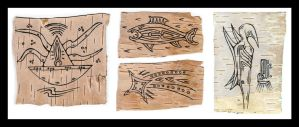 4 Birchbark drawings by retransmission
