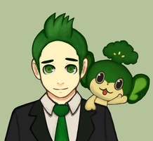 Cilan and Pansage by CJsux