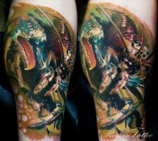 realistic lobster tattoo by Remistattoo